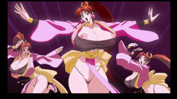 1girl breasts fatal_fury gradient_background huge_breasts jyubei king_of_fighters see-through shiranui_mai snk uncensored