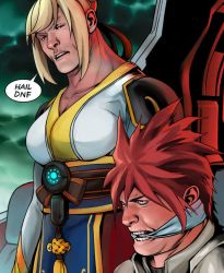 1boy blonde_hair captain_america dungeon_and_fighter elsword elsword_(character) english gag gagged gunner_(dungeon_and_fighter) korean_clothes marvel meme nishino_(waero) parody red_hair rose_(elsword)