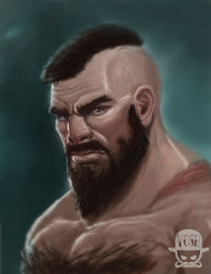1boy beard bust chest_hair facial_hair josh_anthony_coon lips male mohawk muscle nose realistic scar shirtless solo street_fighter zangief