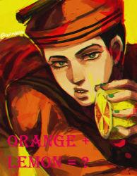 1boy black_hair dixie_cup_hat food fruit hat higashikata_jousuke_(jojolion) jojo_no_kimyou_na_bouken jojolion lemon lips male military_hat rin2010 sailor solo