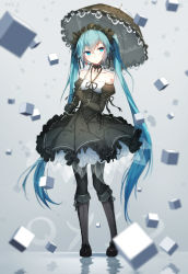 1girl bai_yemeng bare_shoulders black_boots black_bow black_bowtie black_dress black_gloves black_legwear black_umbrella blue_eyes blue_hair blush boots bow bowtie choker closed_mouth collarbone cube detached_sleeves dress earrings floating_object frilled_dress frills full_body gloves gothic_lolita grey_background hairband halter_top halterneck hatsune_miku heart heart_earrings jewelry juliet_sleeves knee_boots lolita_fashion lolita_hairband long_sleeves looking_to_the_side number pantyhose puffy_sleeves revision ribbon_choker simple_background single_earring tattoo vocaloid