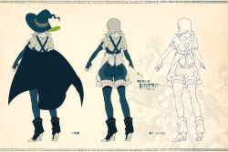 1girl character_sheet from_behind grey_hair hat mepo_(raven0) pixiv_fantasia pixiv_fantasia_fallen_kings short_hair sleepy_(mepo) solo thighhighs translation_request witch_hat