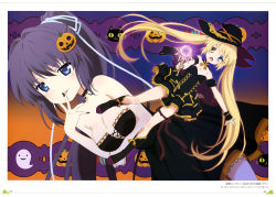 2girls absurdres black_boots black_dress black_hair black_hat black_nails blonde_hair blue_eyes blue_ribbon boots breasts cat choker cleavage comic dress finger_to_mouth floating_hair full_body hair_ribbon halloween_costume hat heterochromia high_ponytail highres holding konohana_lucia long_hair looking_at_viewer magical_girl medium_breasts multiple_girls nail_polish nakatsu_shizuru open_mouth outstretched_arm pumpkin rewrite ribbon scan short_dress sleeveless sleeveless_dress small_breasts smile strapless strapless_dress thigh_strap twintails very_long_hair witch_hat wrist_cuffs yano_akane yellow_eyes