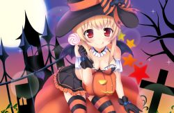 1girl :p battle_girl_high_school blonde_hair breasts candy cleavage demon_tail food full_moon halloween hat lollipop looking_at_viewer moon red_eyes solo tail tongue tongue_out watagi_michelle witch witch_hat yuririn_poi