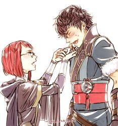 1boy 1girl black_hair blush feeding fire_emblem fire_emblem:_kakusei glasses miriel_(fire_emblem) moka_(choco_liliy) red_hair ronku short_hair