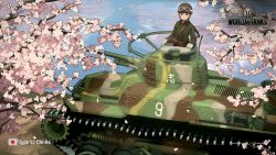 1girl braid brown_hair cherry_blossoms goggles goggles_on_head ground_vehicle highres long_hair military military_vehicle motor_vehicle shibafu_(glock23) tank wargaming_japan world_of_tanks