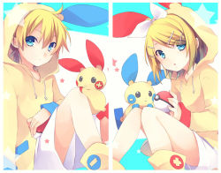 1boy 1girl :< :o ahoge arm_at_side bangs black_eyes blonde_hair blue_eyes blush boots bow brother_and_sister casual cosplay crossover drawstring eyebrows eyebrows_visible_through_hair flat_chest hair_ornament hairclip holding holding_poke_ball hood hoodie kagamine_len kagamine_rin knees_together_feet_apart knees_up kuroi_(liar-player) long_sleeves matching_outfit minun minun_(cosplay) plusle plusle_(cosplay) pocket poke_ball pokemon pokemon_(creature) pokemon_(game) short_hair siblings sitting smile sparkle split_screen star twins vocaloid white_border white_bow