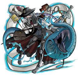 1boy bag bandage black_boots black_hat blood blood_bag boots capelet eyeball forceps full_body gauze gloves hair_ornament handbag hat head_mirror intravenous_drip male_focus mamiboo monster_strike plague_doctor ponytail scalpel silver_hair snake solo staff standing trench_coat white_gloves