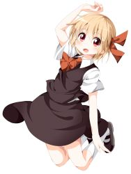 1girl arched_back arm_above_head ascot blonde_hair fang folded_leg hair_ribbon kneehighs looking_at_viewer mary_janes open_mouth rakugakiyarou red_eyes ribbon rumia shoes short_hair short_sleeves simple_background skirt skirt_set solo touhou white_background white_legwear