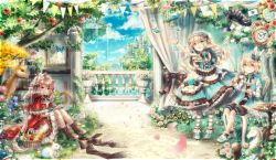 3girls :d :q absurdres alice_in_wonderland animal_ears apple arm_up autumn_leaves baguette bangs basket bellflower birdcage black_bow blue_dress blue_eyes blue_ribbon blue_shoes book bookshelf boots bottle bow bread brown_boots bunny bunny_ears butterfly cage cake capelet card castle cat cat_ears chair checkerboard_cookie cheese cheshire_cat chess_piece clock closed_mouth cloud cookie cross-laced_clothes cross-laced_footwear cup curtains day deer dress drill_hair eyebrows_visible_through_hair fantasy floating_island flower food frilled_dress frilled_hat frills fruit grass grin hair_ornament hairband happy hat hat_with_ears head_tilt heart heterochromia highres holding holding_book holding_cup ivy knees_up layered_clothing layered_dress legs_together licking_lips lolita_fashion lolita_hairband long_hair long_sleeves looking_at_viewer looking_up low_twintails macaron mini_hat mob_cap multiple_girls neck_ribbon on_ground open_book open_mouth original outdoors outstretched_arm painting_(object) pantyhose pennant petals petticoat picnic_basket picture_frame pink_hair pink_rose plant playing_card pocket_watch potted_plant puffy_shorts railing rain reading red_dress red_eyes ribbon ringlets roman_numerals rose saucer shoes short_hair short_sleeves shorts sitting sky slice_of_cake smile sparkle standing strawberry strawberry_blossoms streamers string_of_flags striped striped_legwear swept_bangs table teacup tongue tongue_out tree twintails two_side_up very_long_hair waistcoat watch water waterfall wine_bottle wrist_cuffs x_hair_ornament yellow_eyes yellow_rose yumeichigo_alice