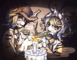 1boy 1girl blonde_hair cake candle dark eating fish fish_bone food fork frog happy_birthday hat kagamine_len kagamine_rin parallela66 teeth vocaloid
