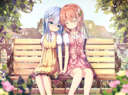 2girls :o arms_at_sides bangs bench blue_eyes blue_hair blurry blush brown_hair depth_of_field dress eyes_closed fence flower forehead-to-forehead gochuumon_wa_usagi_desu_ka? hair_ornament hairclip half-timbered hand_holding highres hoto_cocoa kafuu_chino long_hair looking_at_another missile228 multiple_girls orange_hair outdoors park park_bench pink_dress polka_dot polka_dot_dress puffy_short_sleeves puffy_sleeves short_hair short_sleeves side-by-side sitting sleeveless sleeveless_dress town x_hair_ornament yellow_dress