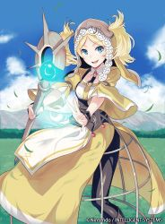 1girl artist_request blonde_hair blue_eyes boots company_connection copyright_name dress fingerless_gloves fire_emblem fire_emblem:_kakusei fire_emblem_cipher gloves holding liz_(fire_emblem) open_mouth pantyhose smile solo staff twintails