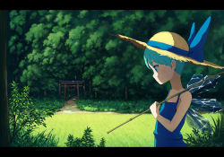 1girl adapted_costume alternate_hair_length alternate_hairstyle anime_coloring bare_arms blue_dress blue_eyes blue_hair carrying cirno dress expressionless forest hat hat_ribbon highres letterboxed looking_down meadow nature path pole profile ribbon road rope sasaj shimenawa short_hair shoulder_carry signature solo straw_hat sundress torii touhou very_short_hair wings