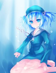 1girl aqua_eyes barefoot blue_eyes blue_hair bubble collarbone dress floating_hair floating_object hair_bobbles hair_ornament hat highres hoodie jewelry kawashiro_nitori key key_necklace light_rays long_sleeves looking_at_viewer necklace shirt sitting skirt skirt_set smile solo sunlight touhou twintails underwater wet wet_clothes