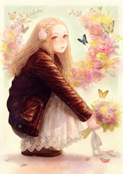 1girl blonde_hair bouquet butterfly dress eyelashes flower forehead hair_flower hair_ornament highres jacket leather leather_jacket lips long_hair looking_at_viewer looking_to_the_side muted_color original romiy shoes solo squatting yellow_eyes