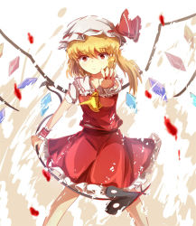 1girl ascot blonde_hair blood dress flandre_scarlet hat hat_ribbon kotou_(ko-tou) laevatein looking_at_viewer mob_cap outstretched_arm puffy_short_sleeves puffy_sleeves red_dress red_eyes red_fingernails ribbon short_sleeves side_ponytail solo touhou wings wrist_cuffs