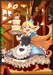>:3 >:d 2girls :3 :d animal_hat apron armor armored_boots bangs blonde_hair blue_eyes boots brown_hair cake candle chalkboard character_request charlotta_(granblue_fantasy) collared_shirt cover cover_page crown cup doughnut dress english food frilled_apron frills fruit granblue_fantasy hat holding indoors kettle legs_apart light looking_at_another maid_headdress multiple_girls o_(rakkasei) open_mouth outstretched_arm petticoat plant pointing pointy_ears potted_plant puffy_short_sleeves puffy_sleeves shirt short_sleeves smile standing strawberry swept_bangs teacup tray waist_apron waitress window wing_collar wooden_floor wooden_wall wrist_cuffs