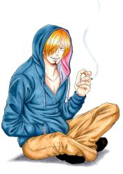 1boy alternate_costume blonde_hair cigarette hair_over_one_eye hoodie indian_style male one_piece sanji simple_background sitting smile smoking solo