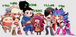 black_hair brown_hair fiora_laurent hair_over_one_eye kog'maw league_of_legends long_hair lulu_(league_of_legends) multicolored_hair multiple_boys multiple_girls otani_(kota12ro08) ponytail red_hair riven_(league_of_legends) short_hair teemo translation_request white_hair yasuo_(league_of_legends)