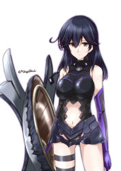 1girl alternate_costume artist_request bare_legs bare_shoulders black_gloves black_hair breasts brown_eyes commentary_request cosplay elbow_gloves expressionless fate/grand_order fate_(series) female gloves highres kantai_collection large_breasts legband legs long_hair looking_at_viewer multicolored multicolored_clothes multicolored_gloves navel navel_cutout purple_gloves shield shielder_(fate/grand_order) shielder_(fate/grand_order)_(cosplay) sleeveless sleeveless_turtleneck solo standing turtleneck ushio_(kantai_collection)