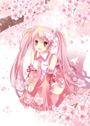 1girl boots cherry_blossoms detached_sleeves flower hair_flower hair_ornament hatsune_miku highres kneeling long_hair necktie open_mouth pink_eyes pink_hair sakura_miku skirt solo thigh_boots thighhighs tinkle2013 twintails very_long_hair vocaloid
