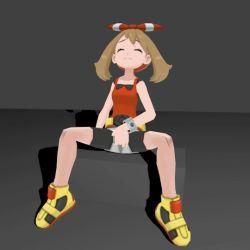 animated animated_gif bracelet brown_hair eyes_closed fingering haruka_(pokemon) haruka_(pokemon)_(remake) masturbation pokemon pokemon_(game) pokemon_oras ribbon