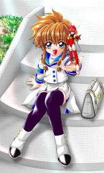 angelic_layer brown_hair green_eyes hikaru_(angelic_layer) pink_hair school_uniform serafuku suzuhara_misaki thighhighs