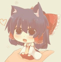1girl :3 animal_ears bow cat_ears chibi commentary_request detached_sleeves fang hair_bow hair_tubes hakurei_reimu hands hazuki_ruu kemonomimi_mode necktie open_mouth red_bow solo touhou wide_sleeves