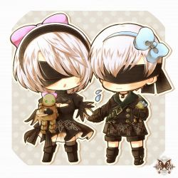 1boy 1girl android blindfold blue_bow blush boots bow breasts butterfly buttons chibi choker cleavage cleavage_cutout collarbone couple dress embarrassed feather-trimmed_sleeves gloves hair_bow hair_over_one_eye hand_holding high_heel_boots high_heels juliet_sleeves long_sleeves machine mole mole_under_mouth nier_(series) nier_automata open_mouth patterned_clothing pink_bow puffy_sleeves shion-1115 short_hair shorts simple_background standing strap stuffed_toy sweatdrop yorha_no._2_type_b yorha_no._9_type_s
