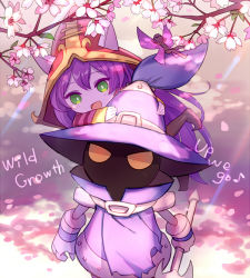 1boy 1girl animal_ears cherry_blossoms fairy gameplay_mechanics green_eyes hamamo hat league_of_legends long_hair lowres lulu_(league_of_legends) pix pointy_ears purple_hair purple_skin staff veigar wings witch_hat wizard_hat yellow_eyes yordle