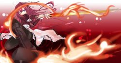 11eyes 1girl boots dress fire frills highres kusakabe_misuzu long_hair maso_(artist) purple_eyes red_hair solo sword weapon