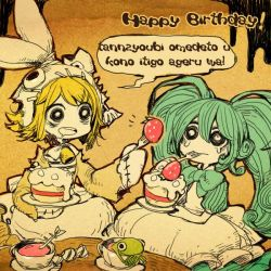 2girls blonde_hair blue_hair bowtie cake candy dress fork frog happy_birthday hatsune_miku kagamine_rin multiple_girls parallela66 strawberry symbol-shaped_pupils teacup translation_request twintails vocaloid