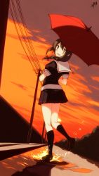1girl ahoge black_legwear blue_eyes blush braid brown_hair commentary_request from_behind from_below full_body hair_flaps hair_ornament highres kantai_collection kneepits knees_together_feet_apart long_hair looking_at_viewer looking_back miniskirt open_mouth orange_sky outdoors perspective pleated_skirt puddle sahuyaiya school_uniform serafuku shigure_(kantai_collection) short_sleeves single_braid skipping skirt smile solo splashing sunset telephone_pole umbrella