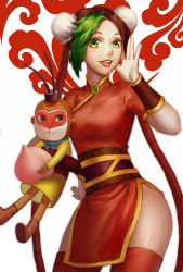 1girl black_hair breasts chinese_clothes green_eyes green_hair jinx_(league_of_legends) league_of_legends lipstick monkey multicolored_hair thighhighs twintails