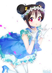 1girl black_hair blue_dress blush choker double_bun dress eyebrows_visible_through_hair gloves hair_bobbles hair_ornament high_heels looking_at_viewer love_live! love_live!_school_idol_project marshall_(wahooo) parted_lips red_eyes short_hair signature sleeveless solo thighhighs white_gloves white_legwear yazawa_nico