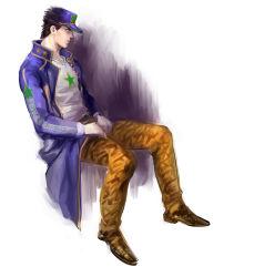 1boy black_hair hat jojo_no_kimyou_na_bouken kuujou_joutarou long_coat magatsumagic solo star