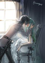1boy 1girl c.c. chair code_geass couple creayus green_hair hand_on_head hetero kiss lelouch_lamperouge long_hair