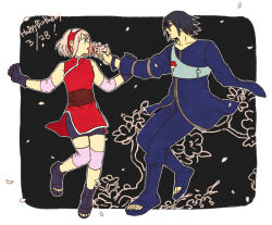 1boy 1girl amputee black_gloves couple dated emu_(losspass) flower gloves haruno_sakura naruto naruto:_the_last petals uchiha_sasuke