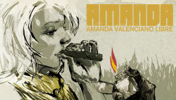 absurdres amanda_valenciano_libre cigar highres lighter lips metal_gear_(series) metal_gear_solid_peace_walker official_art short_hair smoking