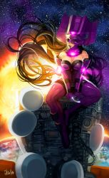 1girl earth galacta giantess hector_enrique_sevilla_lujan helmet looking_at_viewer marvel planet solo space star_(sky) sun