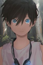 1boy bangs bare_shoulders black_hair blue_eyes bush closed_mouth crying crying_with_eyes_open eyebrows_visible_through_hair free! goggles goggles_around_neck hair_between_eyes hana_bell_forest looking_at_viewer male_focus nanase_haruka_(free!) sleeveless solo tank_top tears tree upper_body younger