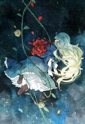 1girl blonde_hair dress eyes_closed flower getiao ib long_hair mary_(ib) petals rose thorns