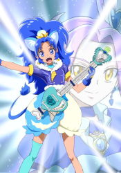 2girls :d animal_ears bangs blue_choker blue_eyes blue_gloves blue_hair blue_legwear blue_shirt blue_skirt brooch closed_mouth cloud_print color_connection cropped_legs crown cure_beat cure_gelato earrings electric_guitar extra_ears gloves guitar happy instrument jewelry kirakira_precure_a_la_mode kurokawa_eren layered_skirt lion_ears lion_tail long_hair looking_at_viewer love_guitar_rod magical_girl mini_crown moritakusan multiple_girls open_mouth parted_bangs precure print_skirt purple_hair seiren_(suite_precure) shirt single_thighhigh skirt smile suite_precure tail tategami_aoi teeth thighhighs white_skirt yellow_eyes