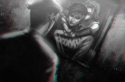 anaglyph arm_warmers arms chromatic_aberration dutch_angle earrings film_grain from_behind greyscale hairband headband jewelry jojo_no_kimyou_na_bouken kishibe_rohan light mirror monochrome reflection rin2010 short_hair sugimoto_reimi