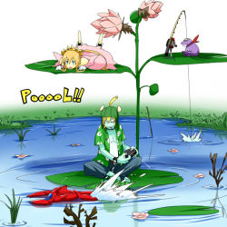 1boy 1girl controller fishing_rod flower frog hat leaf original pageratta pond remote_control simple_background tiara