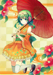 1girl alternate_costume checkered checkered_background choke_(amamarin) detached_sleeves dress egasumi flower geta glasses glasses_on_head green_eyes green_hair gumi hair_flower hair_ornament highres obi parasol red-framed_glasses sash sidelocks smile solo thighhighs umbrella vocaloid