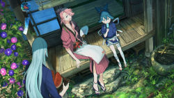 3boys blue_eyes blue_hair dutch_angle eating fan flower food fruit green_eyes heterochromia highres japanese_clothes kousetsu_samonji leaf male_focus morning_glory multiple_boys open_mouth paper_fan pink_hair pippi_(pixiv_1922055) popsicle sayo_samonji sitting smile souza_samonji touken_ranbu tray uchiwa watermelon wind_chime