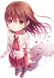 1girl brown_hair flower ib ib_(ib) long_hair looking_at_viewer opopowa petals red_eyes rose shadow skirt solo