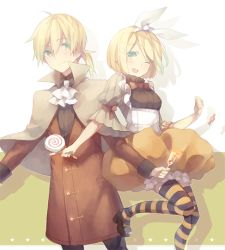 1boy 1girl ahoge blonde_hair blue_eyes bow brother_and_sister bubble_skirt candy cape cravat hair_bow halloween iritoa kagamine_len kagamine_rin lollipop one_eye_closed ponytail popped_collar short_hair siblings skirt smile striped striped_legwear thighhighs twins vocaloid